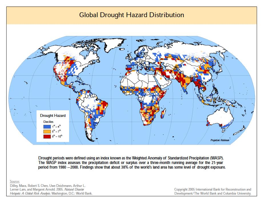Hazards and disasters risk assessment and response the picture global drought hazard distribution gumiabroncs Choice Image